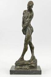 ADAM Auguste Rodin Tribute Nude Male Figure Bronze Sculpture Statue 19quot; x 8quot;
