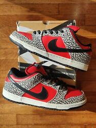 Size 10 Nike Sb X Supreme Red Cement Dunk Low 2012 Fast Ship Travis 313170 600