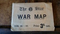 1914 Antique The Star War Map - Large World War One Newspaper Map Europe Wwi