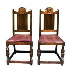 Antique Gothic Victorian Tall Back Bishop Chairs W/ Heraldry Shelf - A Pair