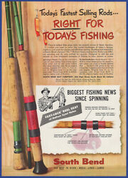 Vintage 1955 South Bend Fishing Rods Spinning Fly Tackle Ephemera 50's Print Ad