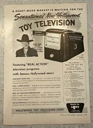 Vintage 1949 Hopalong Cassidy Toy Tv Hollywood Toy Television Corp Org Print Ad