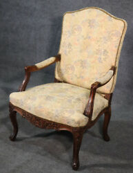Beautiful Carved Walnut Georgian Armchair Tapestry Upholstery And Nailheads C1920