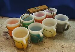 Vintage Anchor Hocking Fire King Glamalite D-handle 8 Mugs And Carry Set