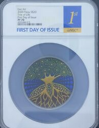 2020 Palau Dot Art S20 Tree Of Life 1st Day Of Issue Ngc Pf70
