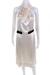 3.1 Phillip Lim Womens Ruffle High Neck Satin Belted Shift Dress White Size 4 $59.99