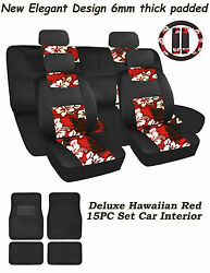 Red Hawaiian Mesh 15pc Set Car Interior, Fit's Most Cars,suv. And Truck's