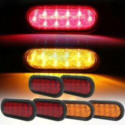 4x 6 21 Led Rubber Red+ 2pcs Yellow Light Tail Lights For Pickup Trailer
