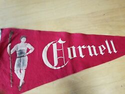 Early 1900and039s Vintage Cornell Crew Pennant With Rower-great Condition