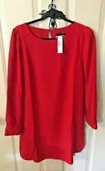 J Crew Gorgeous New With Tags RED Crepe Shift Style Dress Style #K4518 Size 0 $14.99