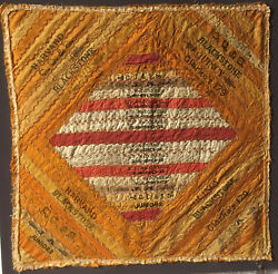 Vintage Cigar Band Ribbon Quilt - Handmade 18 X 18 Inches Tobacco Collectible