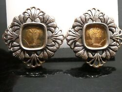 Stephen Dweck Sterling And Bronze Woman Cameo 1989 Floral Clip On Earrings