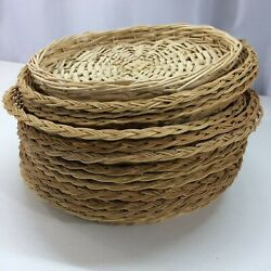 Vintage Wicker Rattan Paper Plate Holders Picnic Camping Wall Decor 13@ 9.5