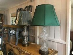 Pair Of Large Glass Mid Century Table Lamps Brass Base