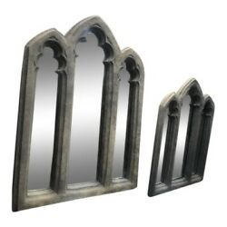 Pair Of Antique Style Gothic Style Triple Arch Mirrors