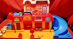 1986 Fisher Price Main Street Letters Fire Gas Station Tow Truck Toy Post Office