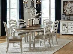 French Cottage Antique White And Brown 7pcs Oval Dining Room Table Chairs Set Ic07