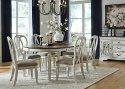 Traditional Antique White And Brown 7pcs Oval Dining Room Table And Chairs Set Ic07