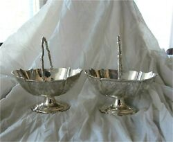 Sterling Silver Sweet Meat Basket Bowl Dish Victorian X 2 Antique London 1879