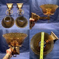 """Antique Brass Mission Gas Sconces Converted To Electric 8"""" Shades Rare 97d"""