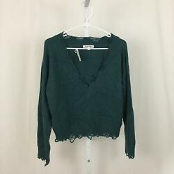 Wild Honey Nordstrom NEW Women Size Small Teal Long Sleeve Distressed Blouse NWT $18.97