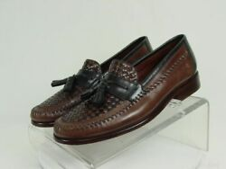 HS TRASK Men 8.5-M Brown Black Leather Slip On Loafer Shoes