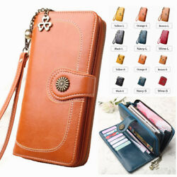 Women Leather Wallet Large Capacity Clutch Purse Card Phone Holder Zip Handbag $12.99