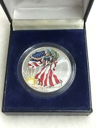 Silver Colorized American Eagle Lady Liberty Dollar 1999