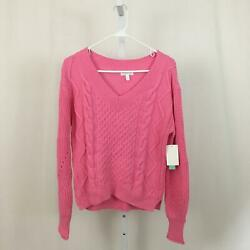 Abound Nordstrom NEW Women#x27;s Size Small Pink V Neck Knit Pullover Sweater NWT $18.97