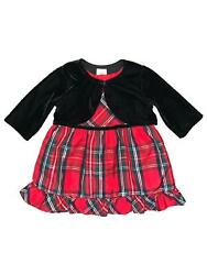 Infant And Toddler Girls Red Plaid Holiday Dress And Black Shrug 12m
