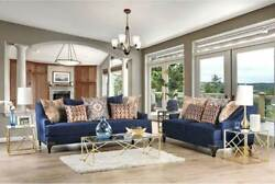 New Living Room Furniture - 2 Piece Navy Blue Fabric Sofa Couch Loveseat Set Gej