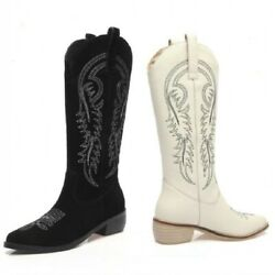 New Women High-end Pointy Toe Embroidered Cowboy Cowgirl Mid Calf Knight Boots L