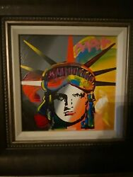 Peter Max 2015 Liberty Head Painting 10x10 On Canvas. Beautiful Piece