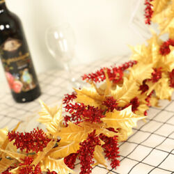 Artificial Autumn Fall Maple Leaves Garland Wall Plants Hanging Party Decor