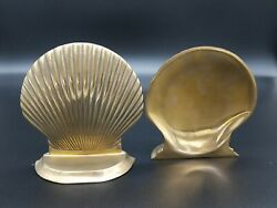 Vintage Brass Seashell Bookends Clam Shell Ocean Sea Nautical