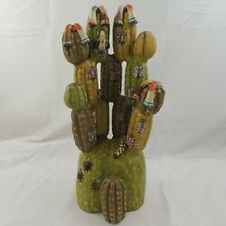 Mexican Cactus Pottery Statue With Butterflies Ants Snake Serape Flowers 17