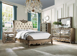 Old World Brownish Gold Finish 5 Piece Bedroom Set W/ Queen Upholstered Bed Iaaq