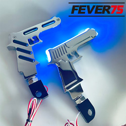 Toy Gun Blue Led Light Rear Passenger Foot Board Cover For Harley Cnc Pedal Pads