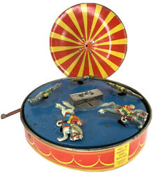 Antique Toy Merry Go Round Tin Litho Wolverine Supply Co No 30 Vintage Horses