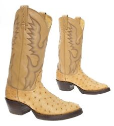TONY LAMA Cowboy Boots 7 D EXOTIC Full Quill Ostrich Leather Western Rodeo Boots $174.99