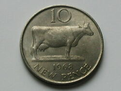 Guernsey 1968 10 New Pence 10p Coin Au++ With Toned-lustre And Dairy Farm Cow