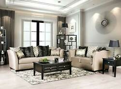 New Transitional Living Room Beige Fabric Nailheads Sofa Couch Loveseat Set Irda