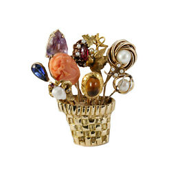 18k Yellow Gold Multi-Color Stick Pin Flower Pot Jardiniere Brooch Pin Handmade