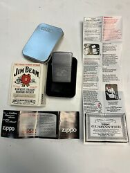 Old Vintage Jim Beam Whiskey Silver Zippo Sealed With Metal Case And Sleeve Jxv