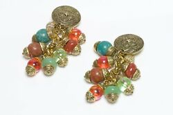 Vintage French 1980's Long Gold Plated Green Orange Resin Beads Earrings