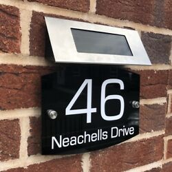 House Door Signs Plaques Numbers 1 - 9999 Solar Light Sign Street Name L3 Curve