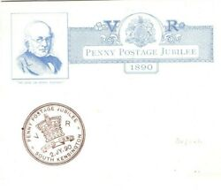 Gb Qv 1890 Fdc Early Exhibition Penny Post Jubilee First Day Insert Card 27a.2