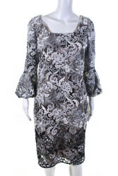 Kevan Hall Womens Floral Lace Overlay Boat Neck 34 Sleeve Dress White Size 12