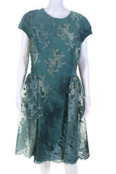 Kevan Hall Womens Floral Embroidered Lace Overlay Dress Blue Size 12