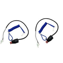 2 Pieces Boat Outboard Kill Stop Switch And Safety Tether Lanyard For Yamaha